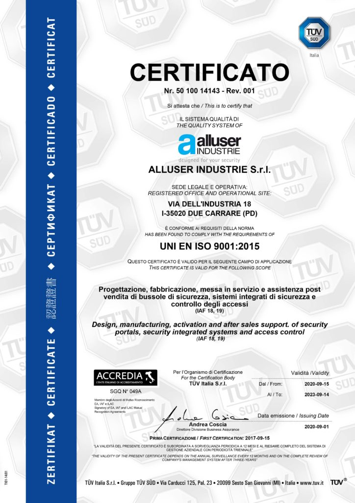 Alluser quality Certificate ISO 9001