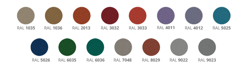 Available pearl colours for security doors - option
